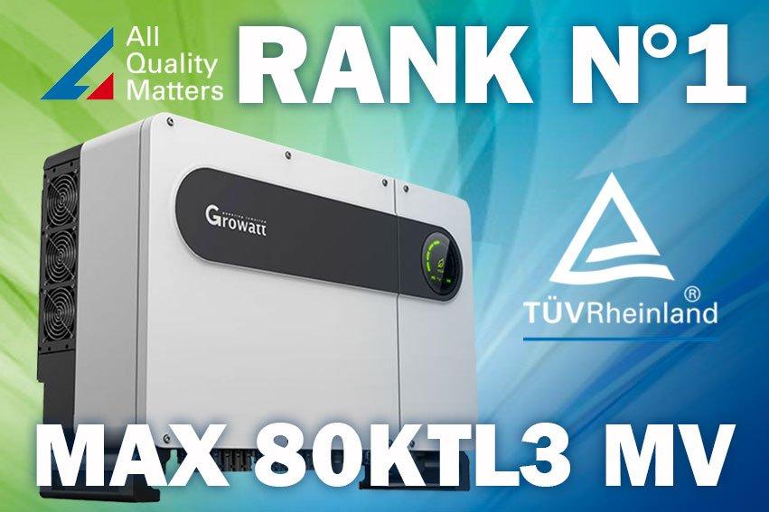 MAX 80k TL3 MV è il miglior inverter di taglia commerciale per All Quality Matters TÜV RheinlandTUV